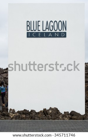 Grindavik, Iceland â?? August 11, 2015: Blue lagoon entrance sign - stock photo