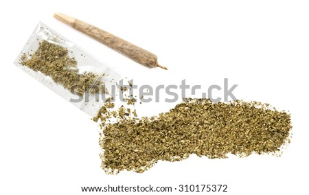 Grinded weed shaped as Gambia and a joint.(series) - stock photo