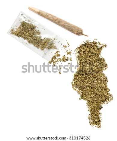 Grinded weed shaped as Tunisia and a joint.(series)