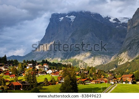 Grindelwald Village in Berner Oberland, Switzerland - stock photo