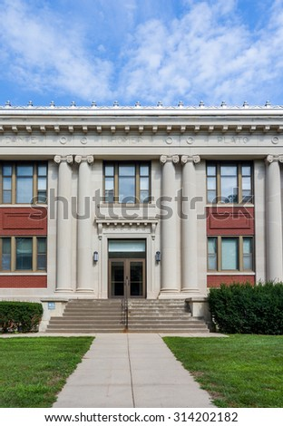 GRINNELL, IA/USA - AUGUST 8, 2015: Carnegie Hall on the campus of Grinnell College.  - stock photo