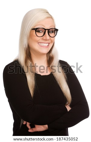 grinning woman with glasses - stock photo