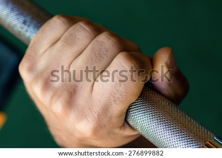grip - barbell bench press - stock photo