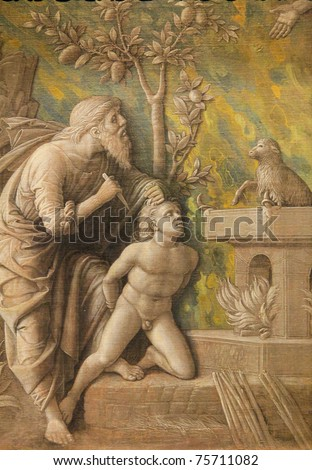Grisaille created by Andrea Mantegna (1430-1506) around 1490, depicting Abraham who is about to sacrifice his son Isaac for God - stock photo