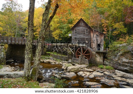 grist mill landmark of west viginia in autumn - stock photo