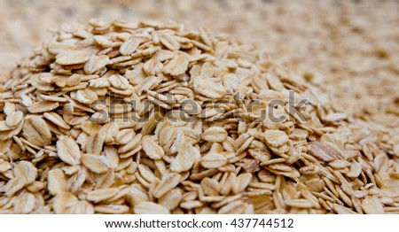 grits are scattered on a surface, rounded shape the processed grains,