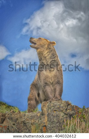 Grizzly bear standing and growling on Montana ridge,photo art