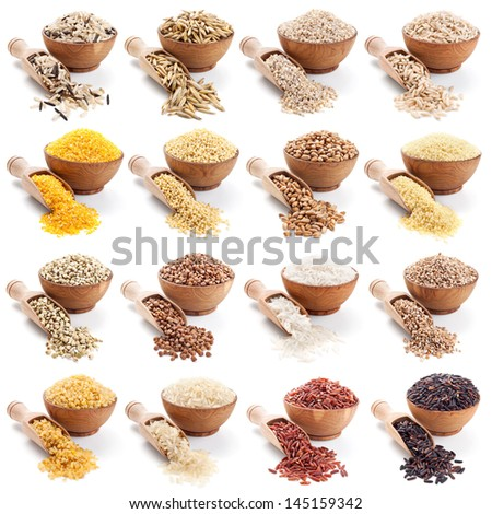 groats collection isolated in white background - stock photo