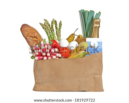 Groceries in a brown paper bag.