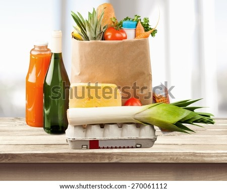 Groceries. Shopping bag - stock photo