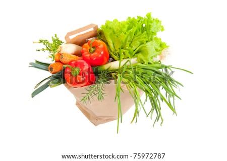 Grocery bag full of fresh vegetables isolated on white - stock photo