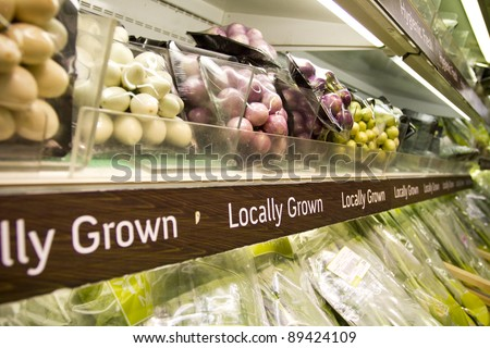 grocery store, full shelf of Thai peel clean herb in supermarket. - stock photo