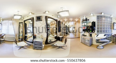 GRODNO, BELARUS - JUNE 8, 2016: Full 360 degree panorama in equirectangular spherical projection in stylish beauty saloon barbershop. Photorealistic VR content