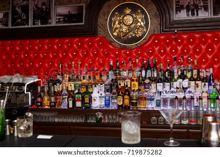 Grodno, Belarus - May 06, 2017: Alcohol bottles on a bar in the London bar