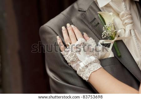 groom and bride - stock photo