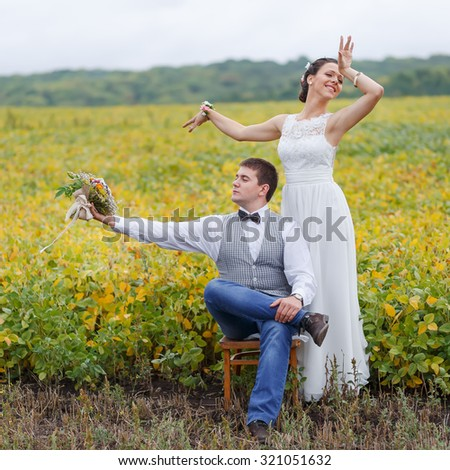 Groom and bride happy together. Wedding.  - stock photo