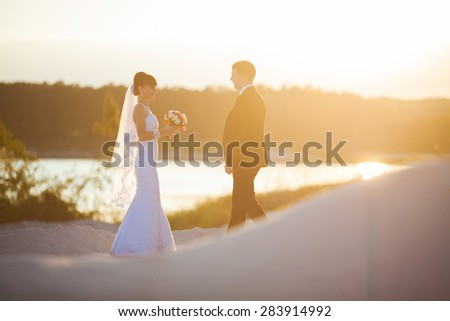 Groom and bride is posing on the background beautiful sunset on the lake