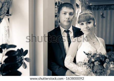 Groom and Bride. wedding dress. Bridal wedding bouquet of flowers - stock photo
