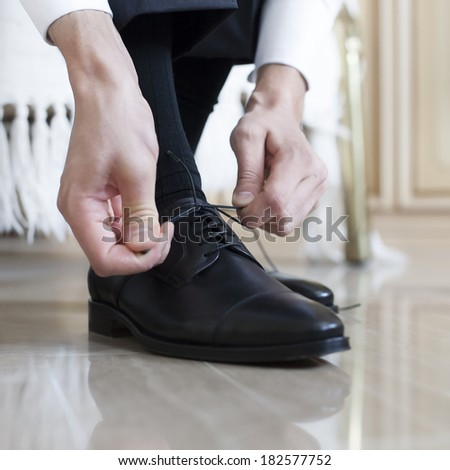 groom black shoes