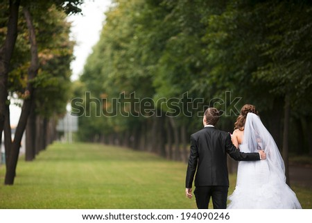 groom bride back - stock photo
