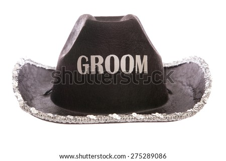 groom fancy dress cowboy hat cutout - stock photo
