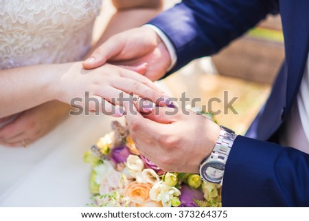 Groom Wears Bride Wedding Ring Stock Photo 373264375 Shutterstock