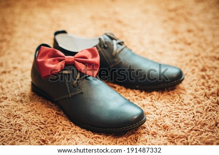 groom wedding shoe - stock photo
