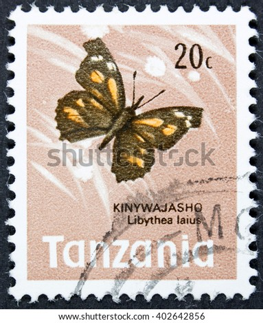 GROOTEBROEK ,THE NETHERLANDS - MARCH 30,2016 : A stamp printed in Tanzania shows African Snout Butterfly, Libythea Laius, Insect, circa 1973 - stock photo