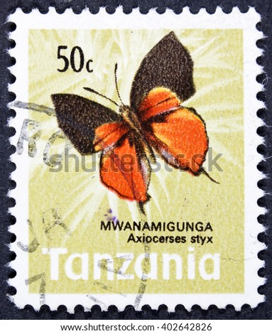 GROOTEBROEK ,THE NETHERLANDS - MARCH 30,2016 : A stamp printed in Tanzania shows Butterflies Colotis ione, circa 1967 - stock photo