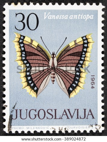 """GROOTEBROEK ,THE NETHERLANDS - MARCH 8,2016 : A stamp printed in Yugoslavia shows butterfly with the inscription """"Vanessa antiopa"""" from the series """"Butterflies"""", circa 1964 - stock photo"""