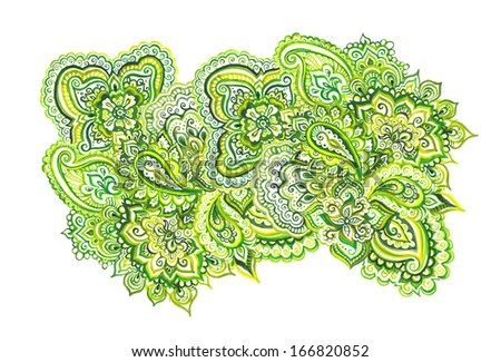 Groovy element of green floral eastern ornamental embellishment - stock photo