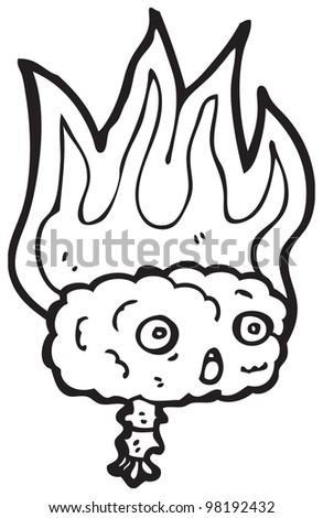 gross burning brain cartoon - stock photo