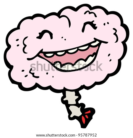 gross happy brain cartoon (raster version) - stock photo