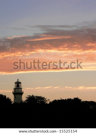 Grosse Point Lighthouse, Evanston, Illinois at sunrise - stock photo