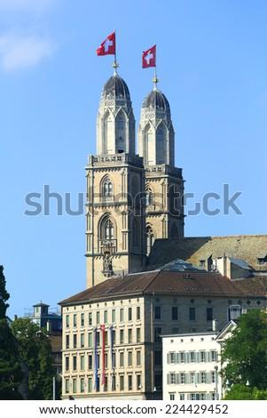 Grossmunster Cathedral, Zurich, Switzerland - stock photo