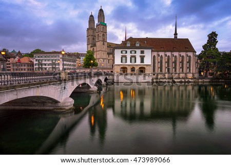 Grossmunster Church and Limmat River in the Morning, Zurich, Switzerland