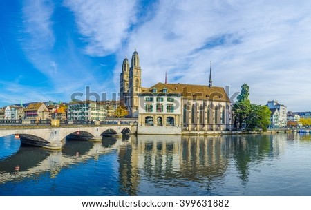 Grossmunster (The Great Cathedral) is the most representative landmark of Zurich city, Switzerland.
