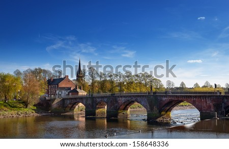 Grosvenor bridge over the river Dee in Chester, England. - stock photo