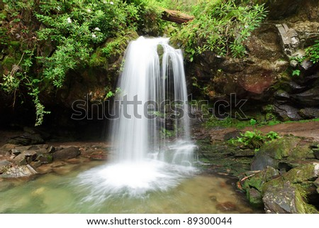 Grotto Waterfall, the Great smoky mountains national park - stock photo