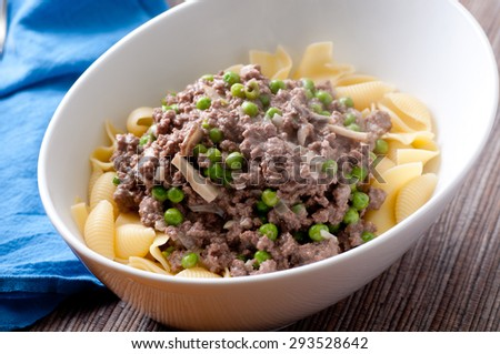 ground beef stroganoff wityh peas and mushrooms - stock photo