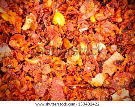 Ground chili overhead view for texture or background - stock photo