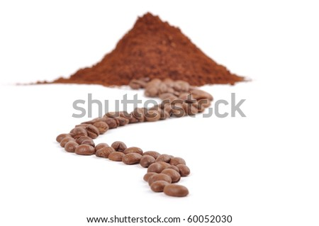 ground coffee and coffee beans on white background - stock photo