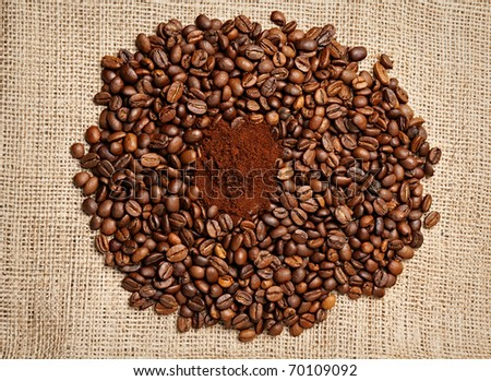 Ground Coffee Surrounded by Roasted Coffee Beans on Burlap