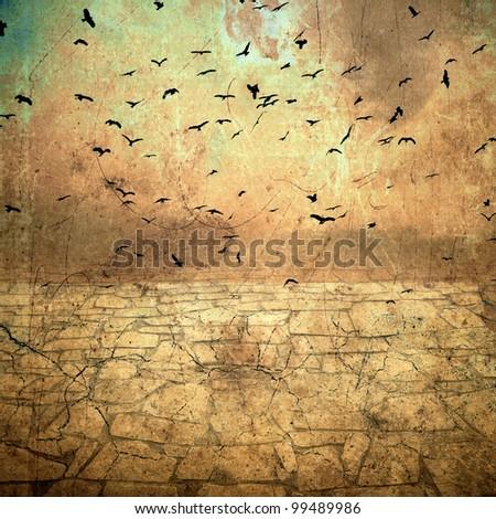 ground cracked, birds in the sky - stock photo