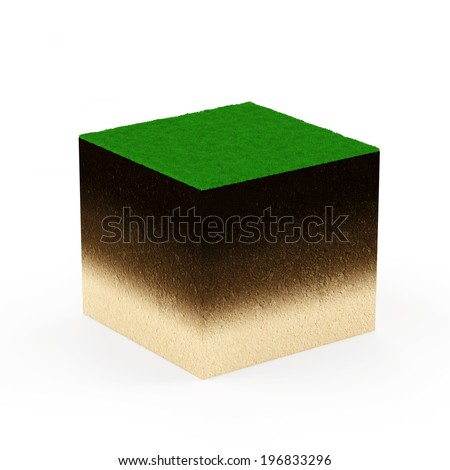 Ground Cross Section with Grass isolated on white background. Geology Concept
