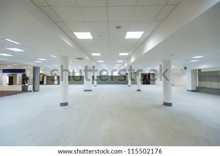 ground floor hall of office building - stock photo