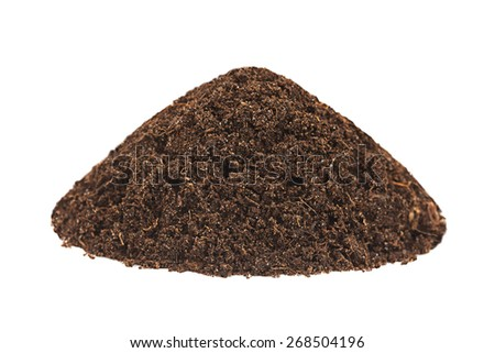 Ground heap closeup isolated on white background - stock photo
