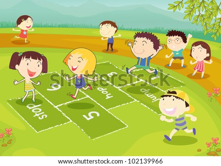 Ground of friends playing hopscotch in the park - EPS VECTOR format also available in my portfolio. - stock photo
