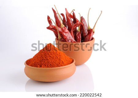 Ground paprika,Powdered red pepper ,dry chilli pepper - stock photo