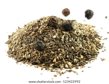 Ground pepper isolated on white background